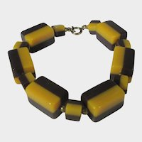 Bakelite Laminated Brown and Gold Two Tone Bracelet