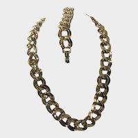 Vintage Monet Goldtone Bold Goldtone Necklace and Matching Bracelet
