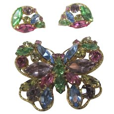 Vintage Regency Butterfly Pin with Matching Clip on Earrings
