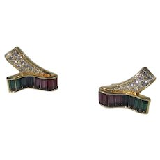 Swarovski Goldtone Clip On Earrings With Red to Green Multi Color Crystals