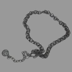Pewter Tone Necklace or Belt in Double Links
