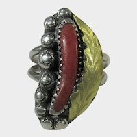 Native American Navajo Sterling Ring With Red Coral and Gold Wash Accents