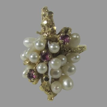 14 Karat Yellow Gold Pearl and Ruby Ring in Organic Form