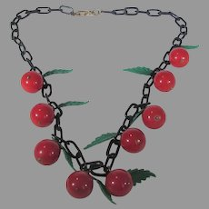 Lucite Early Plastic Cherry and Green Leave Necklace