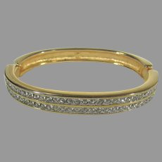 Swarovski Crystal Goldtone Hinged Bangle With Clear Crystals