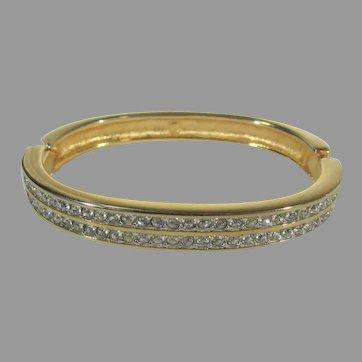 Swarovski Crystal Goldtone Hinged Bangle With Clear Crystals
