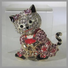 Goldtone Kitty Dressed Up in Her Sunday Best Pin or Pendant With Enamel and Crystal Accents