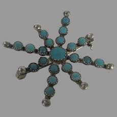 Sterling Silver Pin Enhanced With Turquoise Cabochons