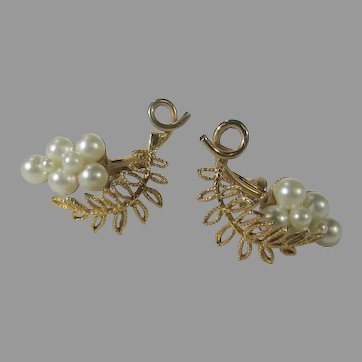 VIntage Goldtone Clip On Earrings with Cultured Pearls