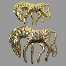 Pair of Matching Goldtone Zebra Pins