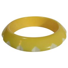 Vintage Lucite Carved Bangle Yellow with White Accents