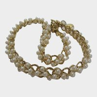 Vintage Goldtone Necklace With Wired Faux Pearls Scattered Generously