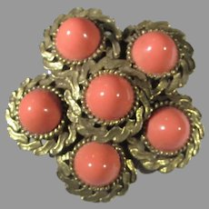 Goldtone Pin With Faux Coral Cabochons