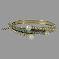Goldtone Bangle With Faux Pearls and Faux Turquoise Accents