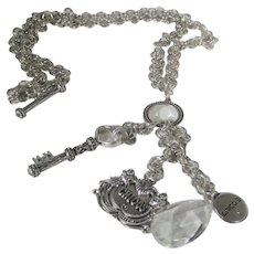 Chico's Silver Tone Toggle Necklace Holding Three Charms