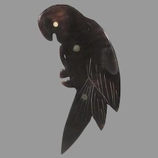 Tortoise Shell Carved Parrot Pin