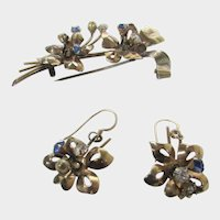 Sterling Silver 1940's Gold Wash Pin and Pierced Earring Matching Set