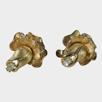 Vintage Francois Goldtone Clip On Earrings With Clear Crystal in Flower Form