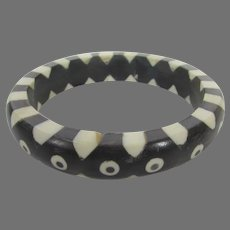 Vintage Black and White Inlaid Lucite Bangle