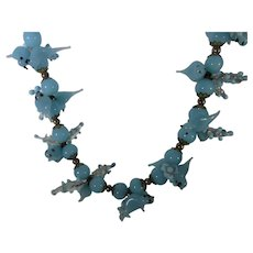 Bluebirds of Happiness Blown Glass Vintage Necklace