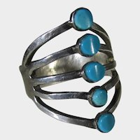 Sterling Silver Ring With Five Turquoise Cabochons