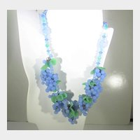 Vintage Art Glass Beaded Necklace Grape Themed in Blue and Green