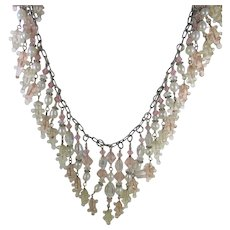 Sterling Silver Necklace With Art Glass, Crystal Beads and Freshwater Pearls