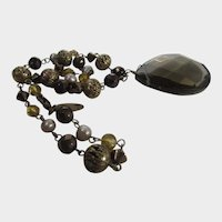 Vintage Smokey Quartz Bead Necklace With Faux Pearl Accents