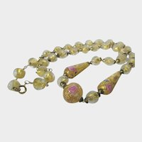 Vintage Venetian Bead Necklace With Both Foiled and Wedding Cake Beads in Yellow