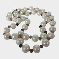 Freshwater Pearl Necklace With Sapphire Spacers in a Variety of Colors