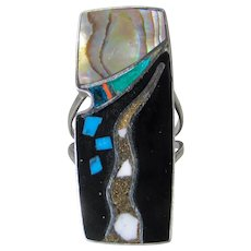 Native American Sterling Silver Inlaid Stone Ring