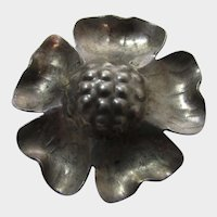 """Sterling Silver Flower Pin With Rose Gold Wash and Red and Green """"Stamens"""""""