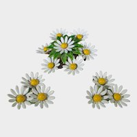 Mid Century Daisy Pin and Matching Clip On Earring Set