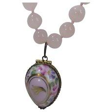 Limoges Locket on Rose Quartz Bead Necklace
