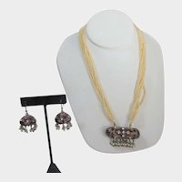 Seed Bead Necklace and Matching Dangling Earrings for Pierced Ears