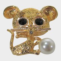 Black Eyed Mouse in Goldtone with Creamy Faux Pearl Accent Pin or Pendant