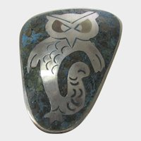 Sterling Silver Taxco Mexico Owl Pin With Inlaid Turquoise