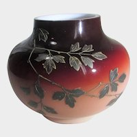 Peach Blow Vase with Hand Enamelled Overlay of Flora and Blue Bird