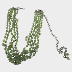 Belt of Four Rows of Faux Peridot Beads