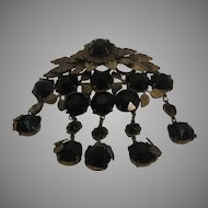 Vintage Brass and Black Glass Huge Pin with Five Drops
