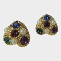 Goldtone Clip On Heart Shaped Earrings With Faux Jewel Tone Crystals and Faux Pearls