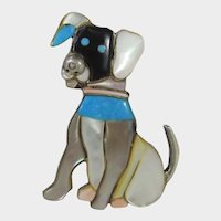 Sterling Silver Dog Pin or Pendant Inlaid with Turquoise, Mother of Pearl and Pink Quartz