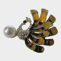 Bird with Plumage on Faux Pearl With Enamelling and Pave Crystals