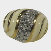 Vintage Costume 18K HGE Enamelled Ring with Clear Crystals
