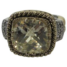 Sterling Silver Gold Wash Ring with Large CZ