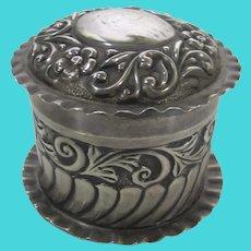 Sterling Silver 1902 AW Pennington Birmingham Repousse Trinket Box