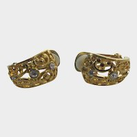 Goldtone Clip On Earrings With Clear Crystals