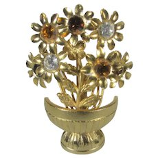 Goldtone Bouquet in Vase With Multi Color Crystal Flower Centers