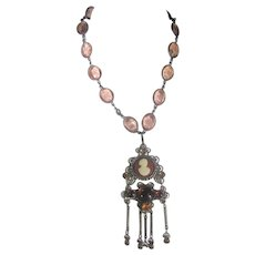 VIntage Crystal Necklace With Faux Cameo Pendant