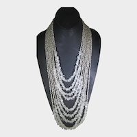 Chico's Statement Necklace With Nine Graduated Length Seed Beads And Crystal Chips